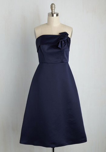 The Way Love Grows A-Line Dress in Midnight by Wendy Bird - Blue, Solid, Bows, Special Occasion, Wedding, Bridesmaid, A-line, Strapless, Woven, Best, Exclusives, Scoop, Long, Variation, Prom, Party, Homecoming, Spring, Summer, Winter, Saturated