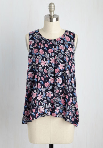 Wrap Artist Floral Top in Navy