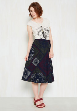 Twirly to Rise Midi Skirt in Bandana