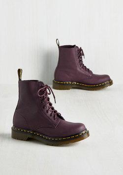 March Through Manhattan Leather Boot in Plum