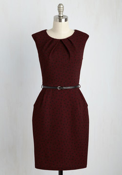 Teaching Classy Dress in Burgundy Dots