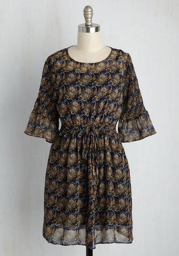 Prague and Roll Mini Dress - Blue, Tan / Cream, Print, Global, Casual, Boho, A-line, Short Sleeves, Fall, Woven, Good, Short
