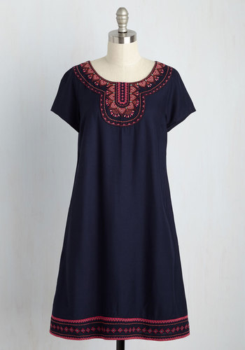 Zest for Time Shift Dress by ModCloth - Blue, Solid, Embroidery, Casual, Boho, Vintage Inspired, 70s, Festival, Shift, Short Sleeves, Woven, Better, Exclusives, Private Label, Mid-length, Trim, Store 2, Best Seller, Best Seller, ModCloth Label