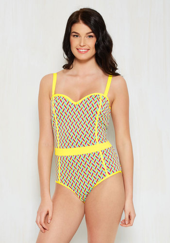 Life in the Splash Lane One-Piece Swimsuit in Chevron available from ModCloth, Click for more Details