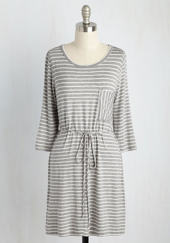 Courage to Flourish Jersey Dress - Grey, White, Stripes, Print, Casual, Nautical, Americana, A-line, 3/4 Sleeve, Summer, Fall, Knit, Good, Jersey, Mid-length