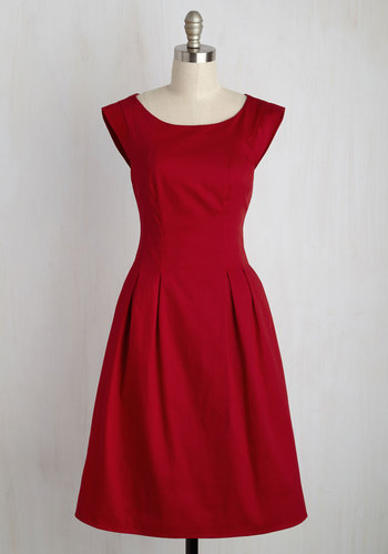 Take It To the Banquet Dress - Red, Solid, Work, A-line, Sleeveless, Summer, Woven, Better, Exposed zipper, Long