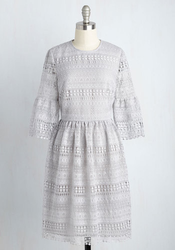Breezy to Come By Lace Dress - Lace, Mid-length, Grey, Solid, Crochet, Party, Work, Daytime Party, A-line, 3/4 Sleeve, Fall, Best, Crew, Lace