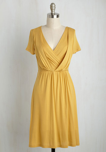 Apres la Soiree A-Line Dress in Marigold - Yellow, Solid, Casual, A-line, Short Sleeves, Summer, Knit, Good, Mid-length, Jersey, Variation