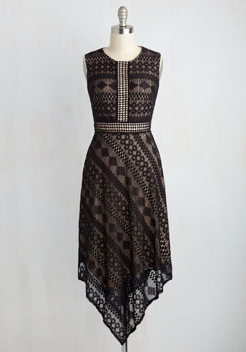 If the Caipirinha Fits Lace Dress - Solid, Party, A-line, Sleeveless, Knit, Lace, Best, Scoop, Long, Black, Tan / Cream, Work, Casual, Spring, Summer, Fall, Winter, Homecoming, Lace