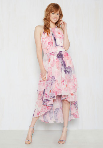 So Beautiful to Thee Midi Dress by Eliza J - Multi, Floral, Print, Beads, Special Occasion, Party, Daytime Party, Wedding Guest, A-line, Sleeveless, Summer, Chiffon, Woven, Exceptional, Halter, Long, Pink, High-Low Hem, Best Seller, Best Seller, Homecoming