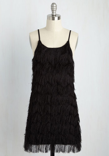 Shimmy All Your Lovin' Sheath Dress - Short, Knit, Party, Black, Solid, Fringed, Cocktail, Vintage Inspired, 20s, Shift, Sleeveless, Spaghetti Straps, Spring, Summer, Winter, Better, Scoop, LBD, Homecoming, Mini