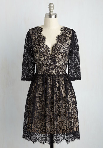 Local Vocalist Lace Dress - Tan, Solid, Scallops, Party, A-line, 3/4 Sleeve, Knit, Lace, Better, V Neck, Mid-length, Black, Winter, LBD, Homecoming, Lace