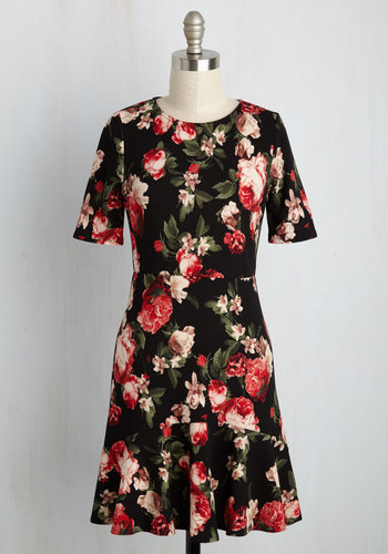Flirty South Floral Dress - Black, Red, Floral, Print, Work, A-line, Short Sleeves, Fall, Knit, Better, Mid-length