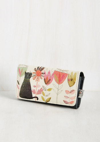 Chasing Pay-Purr Wallet - Floral, Cats, Better, Black, White, Statement, Quirky