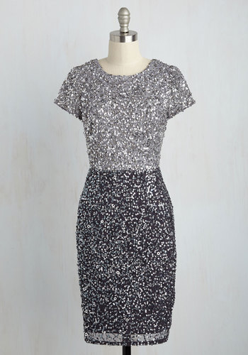 Draw a Shine in the Sand Sequin Dress by Adrianna Papell - Woven, Mid-length, Silver, Solid, Sequins, Party, Cocktail, Girls Night Out, Holiday Party, Sheath, Short Sleeves, Fall, Exceptional, Scoop, Grey, Special Occasion, Luxe, Colorblocking, Homecoming
