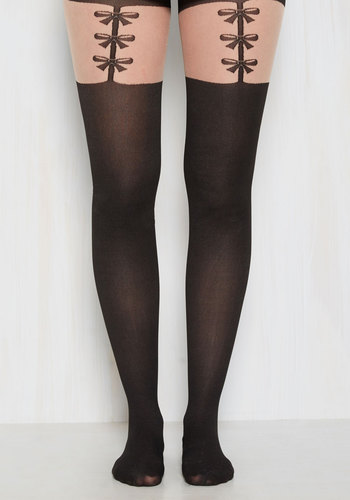 Sassy Sophisticate Tights - Black, Novelty Print, Print, Special Occasion, Better