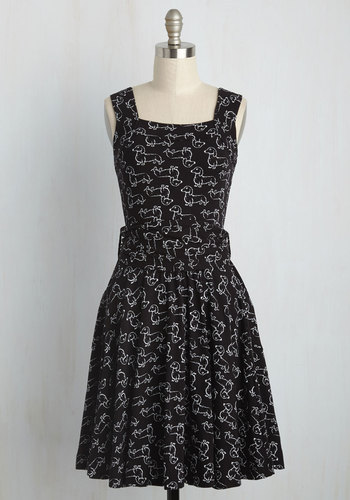 1940s Style Dresses and Clothing Guest of Honor Dress in Dachshund $99.99 AT vintagedancer.com