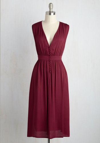 Marseille of Relief Midi Dress - Red, Solid, Casual, Boho, A-line, Sleeveless, Fall, Woven, Good, Long, Buttons, 40s, 70s, V Neck