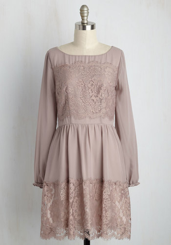 Might Come in Fancy Long Sleeve Dress in Mauve - Blush, Solid, Lace, Daytime Party, Boho, A-line, Long Sleeve, Fall, Woven, Better, Lace, Mid-length, Party