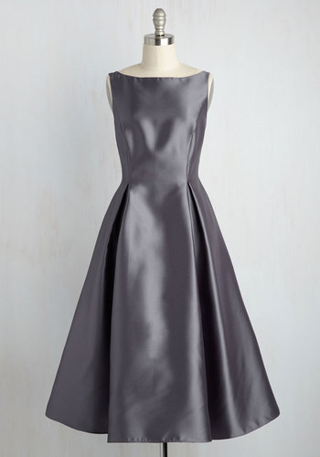 Careful What You Lavish For Midi Dress in Steel by Adrianna Papell - Woven, Long, Grey, Solid, Special Occasion, Prom, Wedding, Bridesmaid, Homecoming, Vintage Inspired, 40s, 50s, Fit & Flare, Sleeveless, Boat, Fall, Winter, Silver