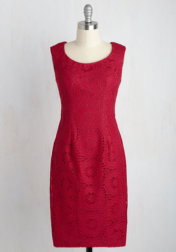 Arrive at a Precision Lace Dress by Adrianna Papell - Pink, Solid, Party, Cocktail, Daytime Party, Graduation, Wedding Guest, Sheath, Sleeveless, Spring, Summer, Winter, Knit, Lace, Best, Scoop, Mid-length, Homecoming, Lace, Saturated