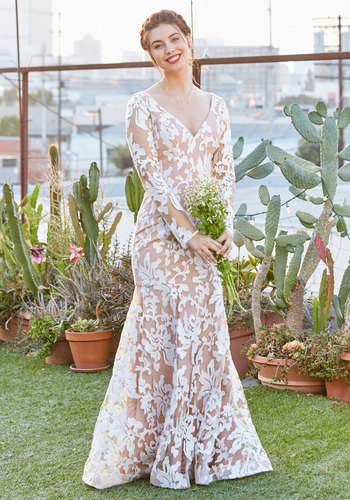 To Love and Be Lovely Maxi Dress in White - White, Tan / Cream, Print, Other Print, Special Occasion, Prom, Wedding, Bride, Sheath, Long Sleeve, Exceptional, V Neck, Long, Woven, Maxi, Spring, Summer, 20s, Lace, Lace