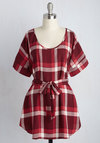 Medium Format Memory Tunic in Burgundy Plaid