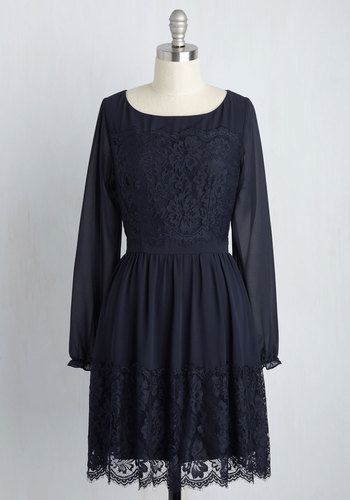 Might Come in Fancy Long Sleeve Dress in Navy - Blue, Solid, Daytime Party, Boho, A-line, Long Sleeve, Fall, Winter, Woven, Better, Short, Lace, Lace