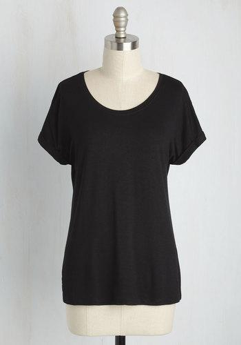 Breezy Basics Top in Black - Black, Black, Solid, Lounge, Short Sleeves, Summer, Better, Variation, Crew, Mid-length, Knit