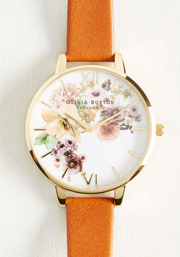 Time of the Season Watch by Olivia Burton - Tan, Multi, Floral, Luxe, Darling, Gold, Leather, 70s