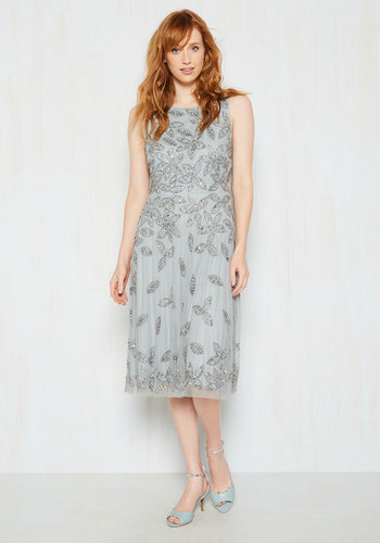 Give Everything You've Haute Sequin Dress by Adrianna Papell - Silver, Grey, Beads, Rhinestones, Sequins, Special Occasion, Holiday Party, Homecoming, Luxe, Statement, Drop Waist, Sleeveless, Mid-length, 20s