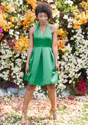 A Sight to Remember Fit and Flare Dress in Emerald - Green, Solid, Wedding, Party, Bridesmaid, Fit & Flare, Sleeveless, Woven, Best, Exclusives, Halter, Cocktail, Holiday Party, Winter, Long, Homecoming