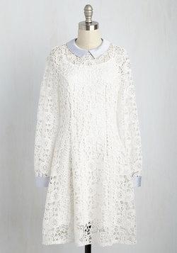 Collar ID Dress in Ivory