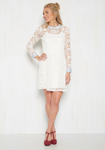 Collar ID Lace Dress in Ivory by ModCloth - White, Ivory, Solid, Daytime Party, Shift, Long Sleeve, Lace, Best, Exclusives, Collared, Woven, Mid-length, Fall, Work, Vintage Inspired, 60s, ModCloth Label, Eyelet, Special Occasion, Graduation, Lace, Bride