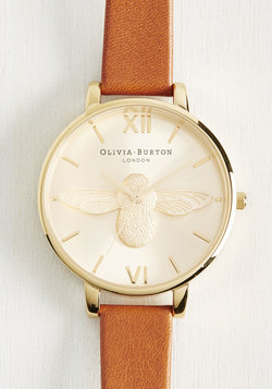 Bee There in a Minute Watch in Tan & Gold