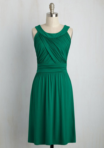 So Happy to Gather Dress in Fern - Green, Solid, Ruching, Casual, A-line, Sleeveless, Good, Knit, Variation, Jersey, Mid-length, Spring, Colorsplash, Summer, Fall