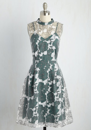 Unfalteringly Feminine Floral Dress in Emerald - Green, White, Floral, Print, Wedding, Daytime Party, Bridesmaid, Wedding Guest, A-line, Sleeveless, Woven, Better, Exclusives, Cowl, Long, Pleats, Fall, Winter, Homecoming, Sheer
