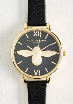 Bee There in a Minute Watch in Black & Gold