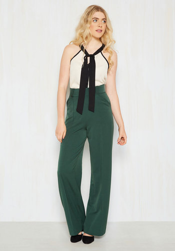 1940s Style Pants & Overalls- Wide Leg, High Waist Confidence Pants in Pine $89.99 AT vintagedancer.com