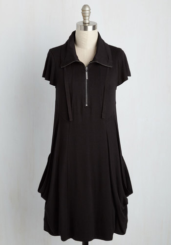 Fresh Flow Knit Dress in Black - Black, Solid, Casual, Shift, Short Sleeves, Fall, Winter, Better, Knit, Mid-length, Exposed zipper
