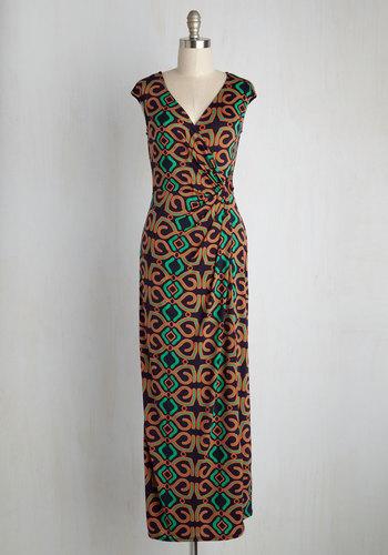Puttin' on the Rex Maxi Dress in Kaleidoscope - Knit, Long, Variation, Black, Orange, Green, Print, Global, Casual, Beach/Resort, Statement, Quirky, Maxi, Summer, V Neck