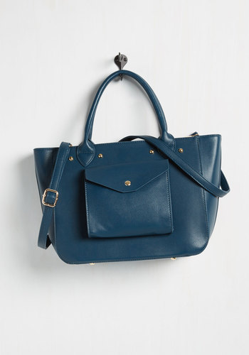 It's Not Pocket Science Bag - Blue, Work, Fall, Better, Faux Leather, Solid, Pockets, Minimal