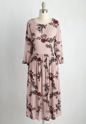 Midday Matinee Floral Dress - Pink, Floral, Print, Casual, Boho, A-line, 3/4 Sleeve, Fall, Woven, Better, Long