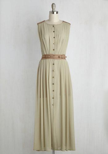 Prairie Much So Maxi Dress - Green, Tan / Cream, Solid, Casual, A-line, Maxi, Sleeveless, Fall, Woven, Best, Long