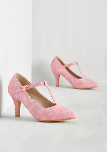 1950sStyleShoes Reveal Your Forces Heel in Bubblegum $54.99 AT vintagedancer.com