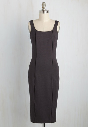 Filled to the Trim Sheath Dress - Grey, Solid, Work, Daytime Party, Pinup, Vintage Inspired, 40s, 50s, Sheath, Sleeveless, Fall, Winter, Knit, Best, Long