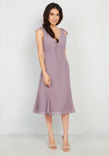 Ties to the Occasion Midi Dress in Lavender - Solid, Bows, Party, Empire, Sleeveless, Woven, Best, Exclusives, V Neck, Wedding, Bridesmaid, Long, Purple, Wedding Guest, Fall, Winter, Homecoming