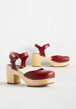 Arts and Letters Leather Heel in Carmine