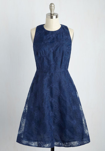 The Host Important Part A-Line Dress - Blue, Solid, Embroidery, Daytime Party, Wedding Guest, A-line, Exceptional, Scoop, Sleeveless, Long, Woven, Lace, Bridesmaid, Fit & Flare, Spring, Homecoming, Lace, Saturated, Sheer