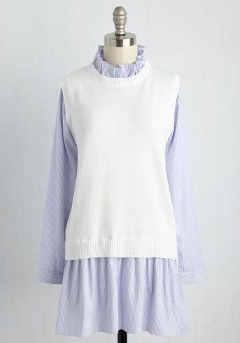 Two Become Fun Mini Dress - Blue, Stripes, Print, Casual, Drop Waist, Shirt Dress, Sweater Dress, Long Sleeve, Fall, Knit, Woven, Better, Short, Work, Nautical, Scholastic/Collegiate